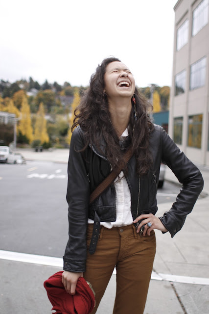 Kathryn Bowerman Leather Motorcycle jacket seattle Street Style Fremont