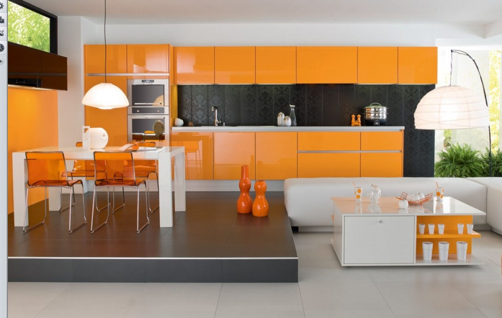 kitchen design ideas: orange Kitchens designs 2014