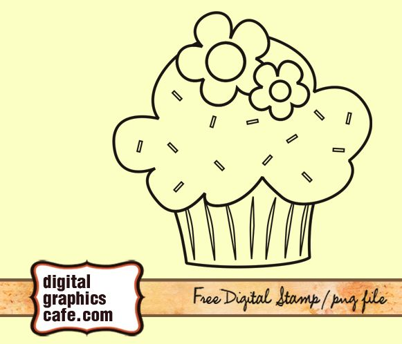 cute cupcake stamp digital