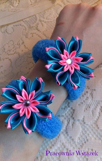 Kwiatki kanzashi i dwie frotki.