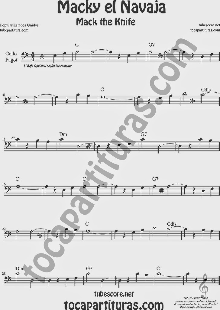 Macky el Navaja Partitura de Violonchelo y Fagot Sheet Music for Cello and Bassoon Music Scores Mack the Knife