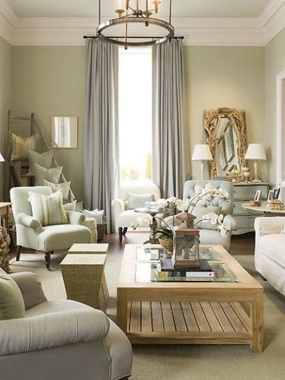 D cor de provence phoebe howard for Green and cream living room ideas