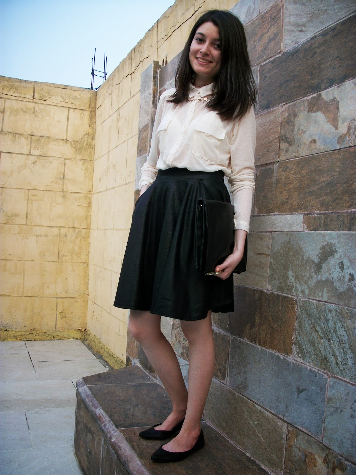 Cream shirt & black skirt