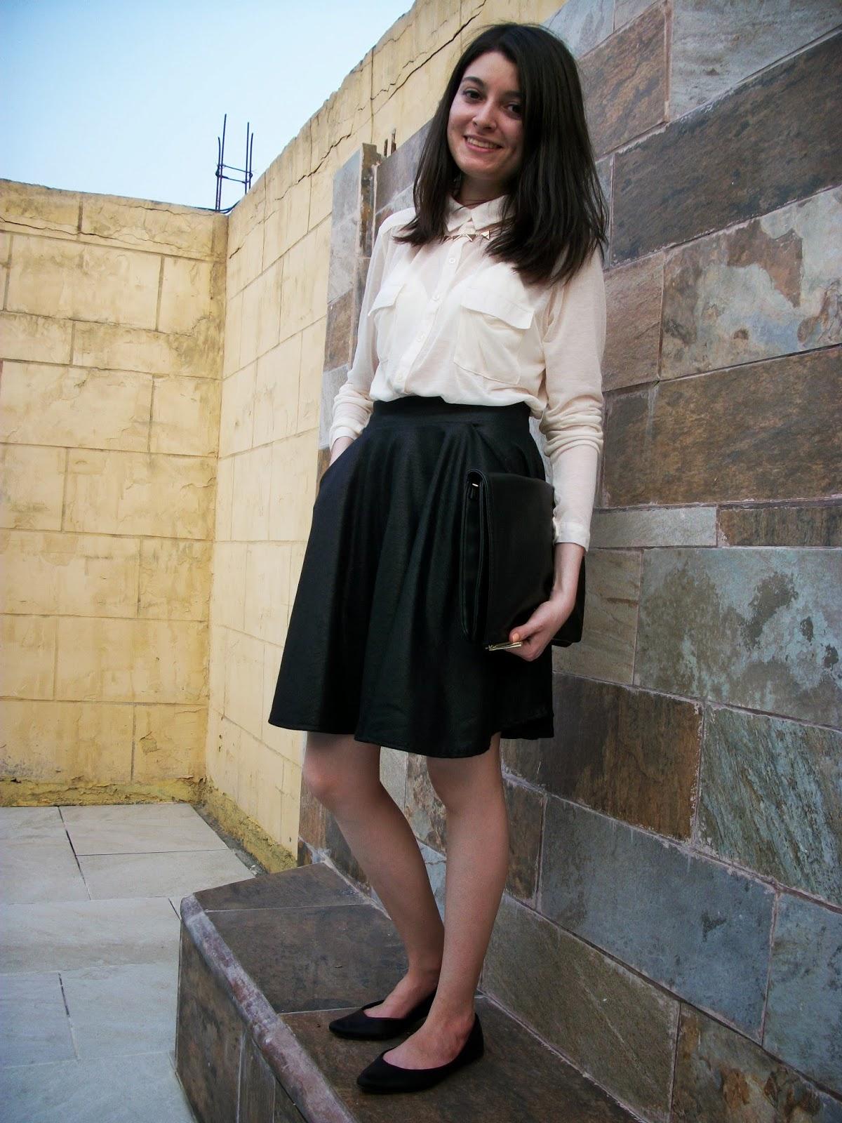 Cream shirt & black skirt