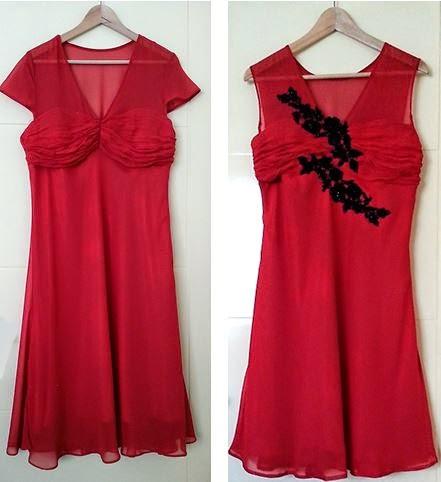 Kırmızı Abiye Elbise, Siyah Güpür, Gece Kıyafeti