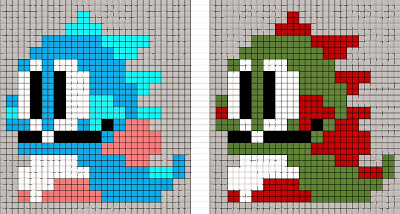 Bubble Bobble dragon pixel sprite in Christmas colors