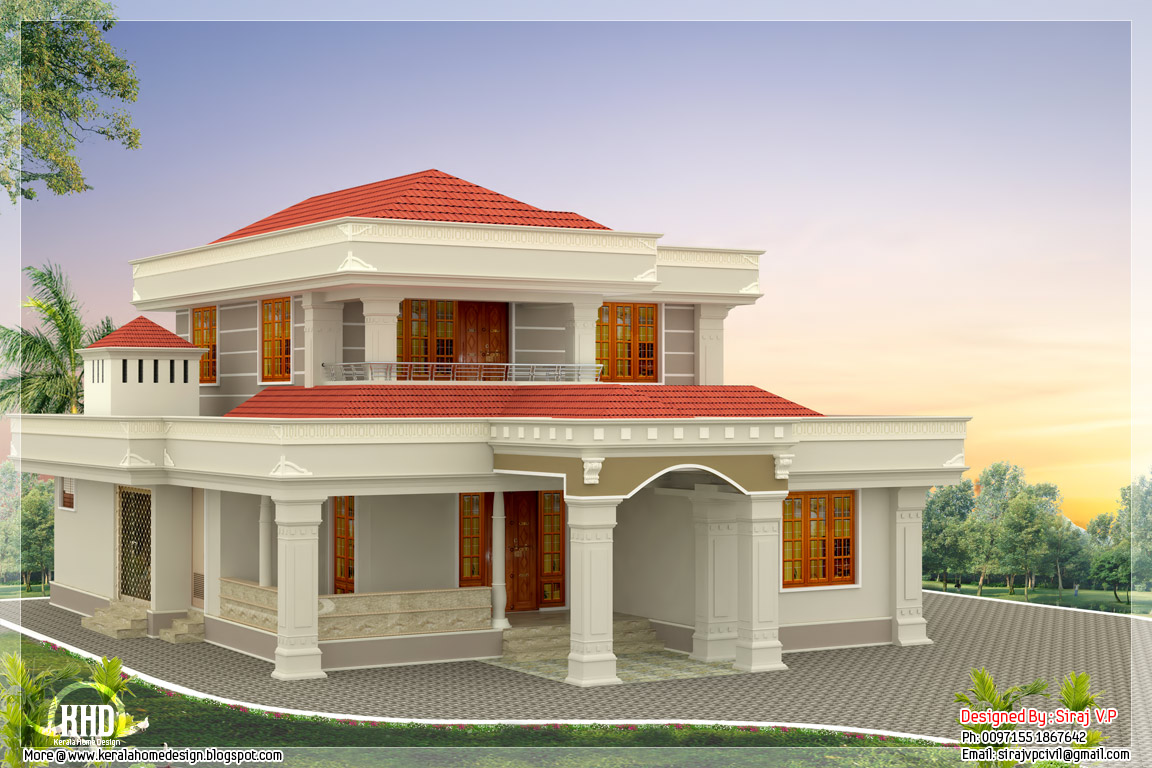 Beautiful indian home design in 2250 kerala home for Beautiful house design