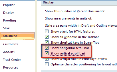 show scroll bar Ms Word 2007