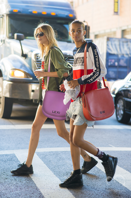 Binx Walton and Lexi Boling carry Coach bag at New York Fashion Week 2016 Spring Summer NYFW