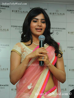 Samantha Latest Pink Transparent Net Saree Pics
