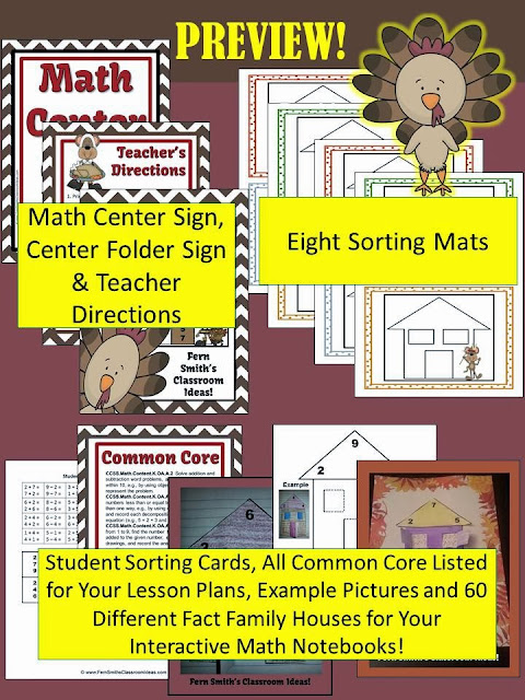 Fern Smith's Classroom Ideas Thanksgiving Addition and Subtraction Fact Families Center and Interactive Notebook Activities at TeacherspayTeachers.