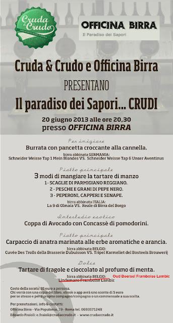Appuntamento con Cruda e Crudo a Offcina Birra (Roma)
