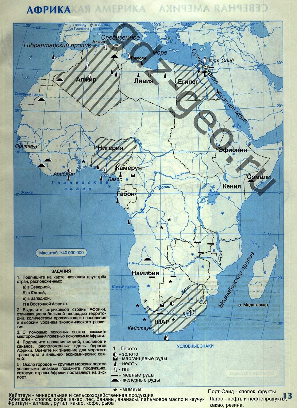 Заполненные мконтурные карты 11 класс