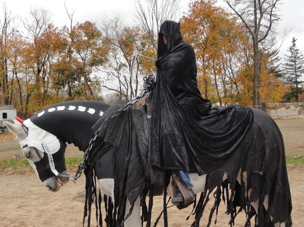 Headless horseman costume with horse