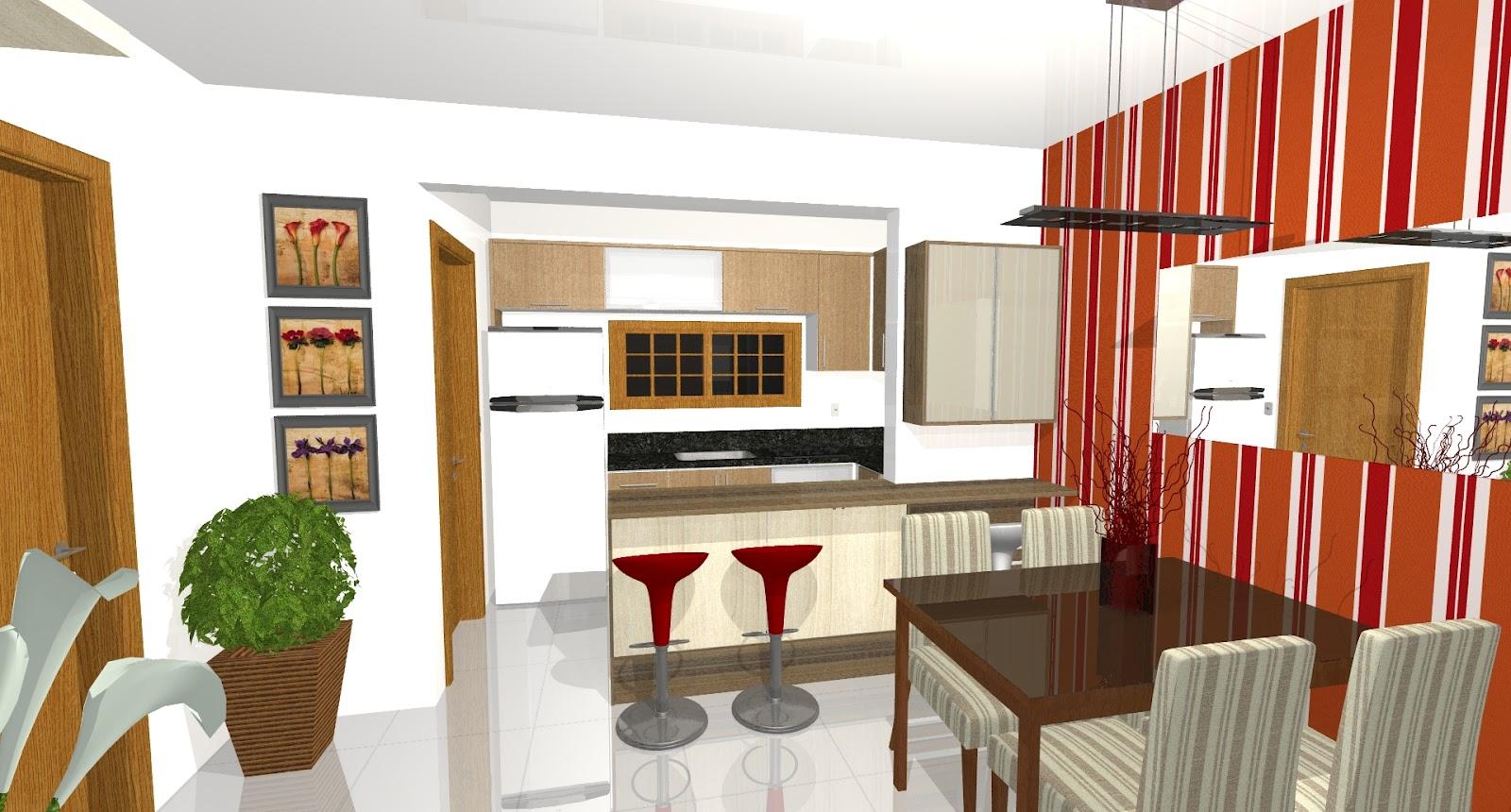 Ambientes planejados.: Cozinha Sala de Estar e Jantar. #AF401C 1600 860