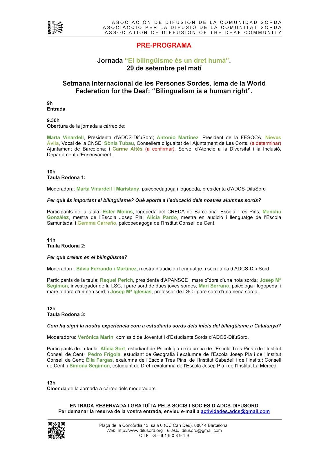 "Jornada ""El bilingüismo, un derecho humano"" - Barcelona 29 sept.'12 Jornada29S"