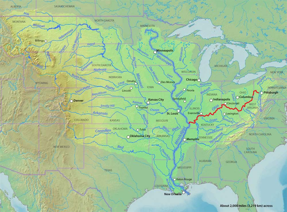 Ohio River Kids Britannica Kids Homework Help Buy Ohio River Map - Longest river in the us map