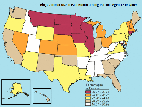 map of binge drinking by state
