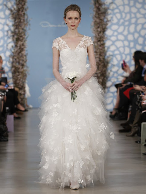 Oscar de la Renta Spring 2014 princess lace Wedding Dresses