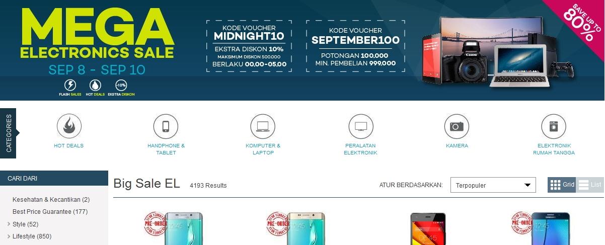 Lazada Mega Electronics Sale 8 – 10 September 2015, Ekstra Diskon 10% Maksimal Potongan Harga Rp 500 Ribu