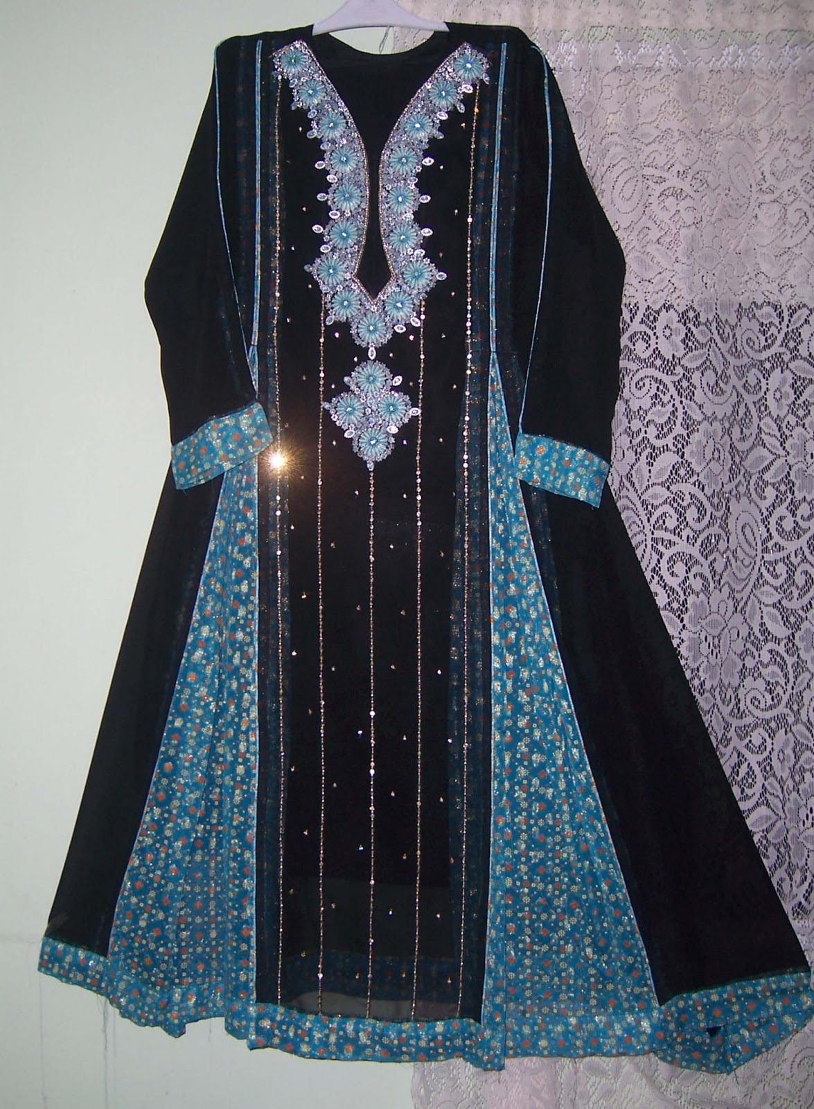 Black and blue hand embroidery party suit design