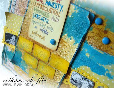 Live a life od love, honesty, appreciation, kindness and strength.  Tim Holtz - Filmstrip Frames, crackle paint