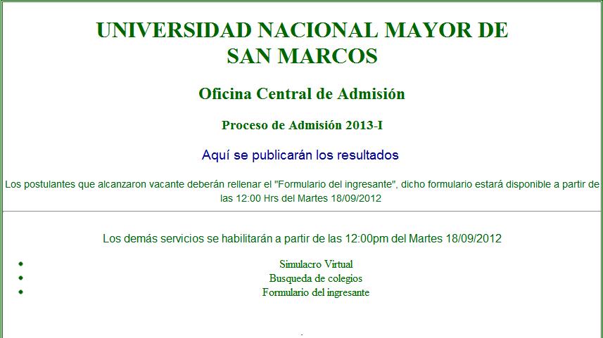 Resultados UNMSM 2012 II Ingresantes Admision 2 de Setiembre