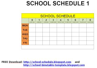 School schedule - printable template