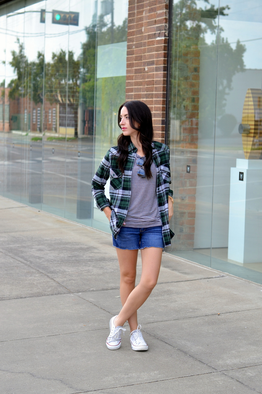 Basic striped tee, fall flannel, converse, fall outfit