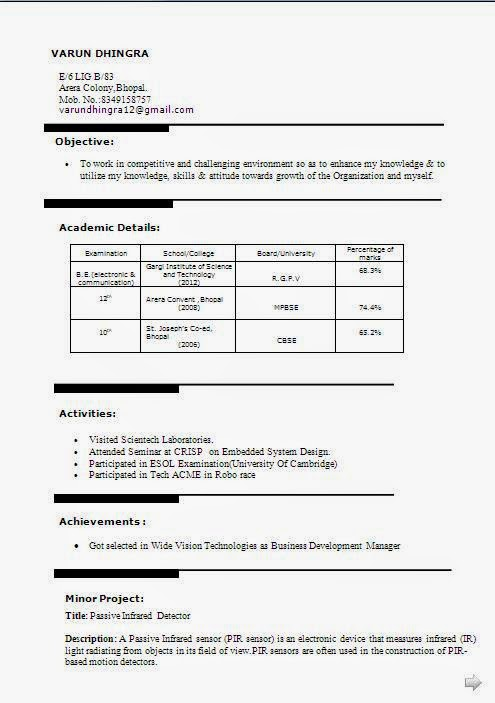 electronics and communication engineering fresher resume