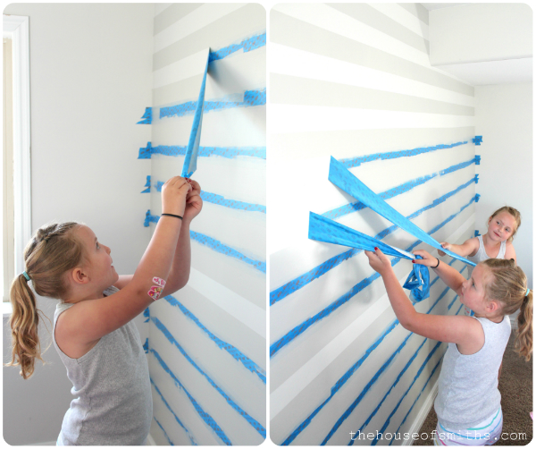 diy stenciled storage boxes with painters tape wall designs - Paint Designs On Walls With Tape Ideas