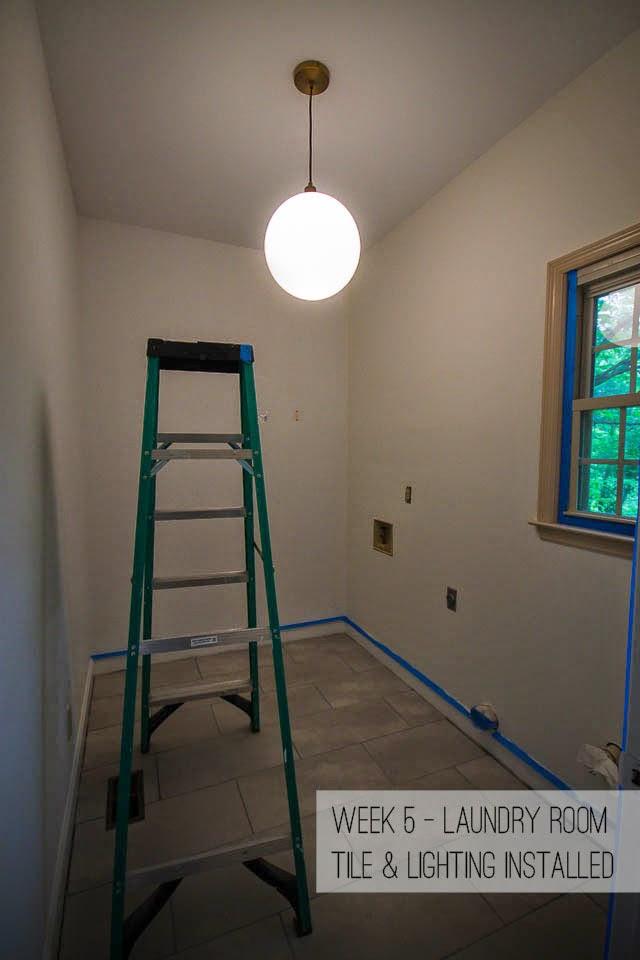 laundry room tile West Elm lighting