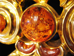 Detail of the LARGE pieces of amber in the altar piece