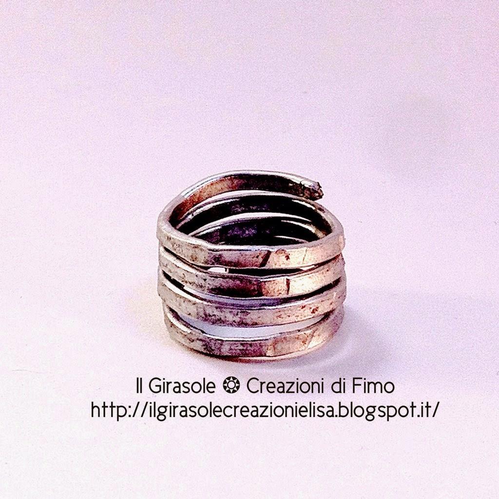 spesso Anello a fascia in wire di alluminio battuto - Il GiraSole ❂ RY85