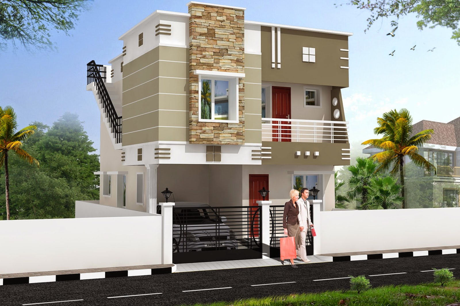 luckydesigners 3d elevation residential building