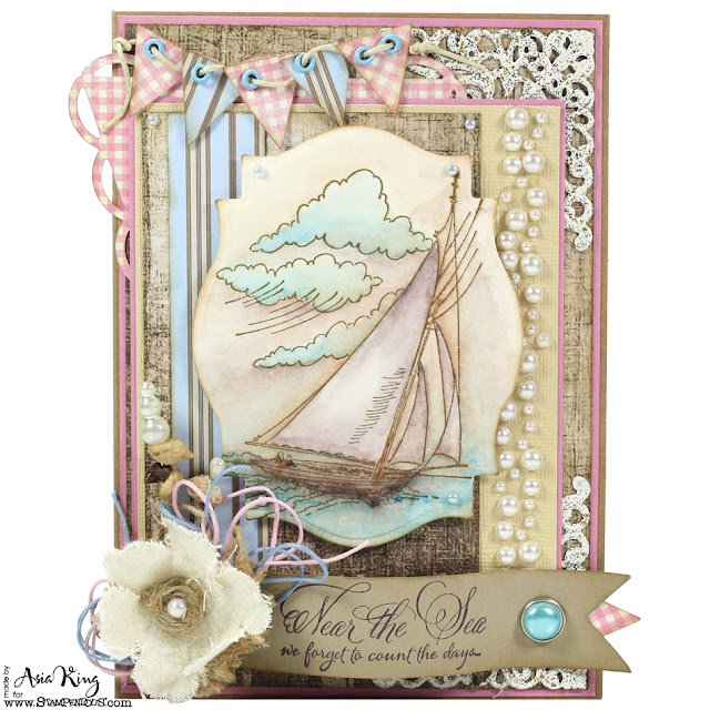 Near the sea nautical vintage card by Asia King