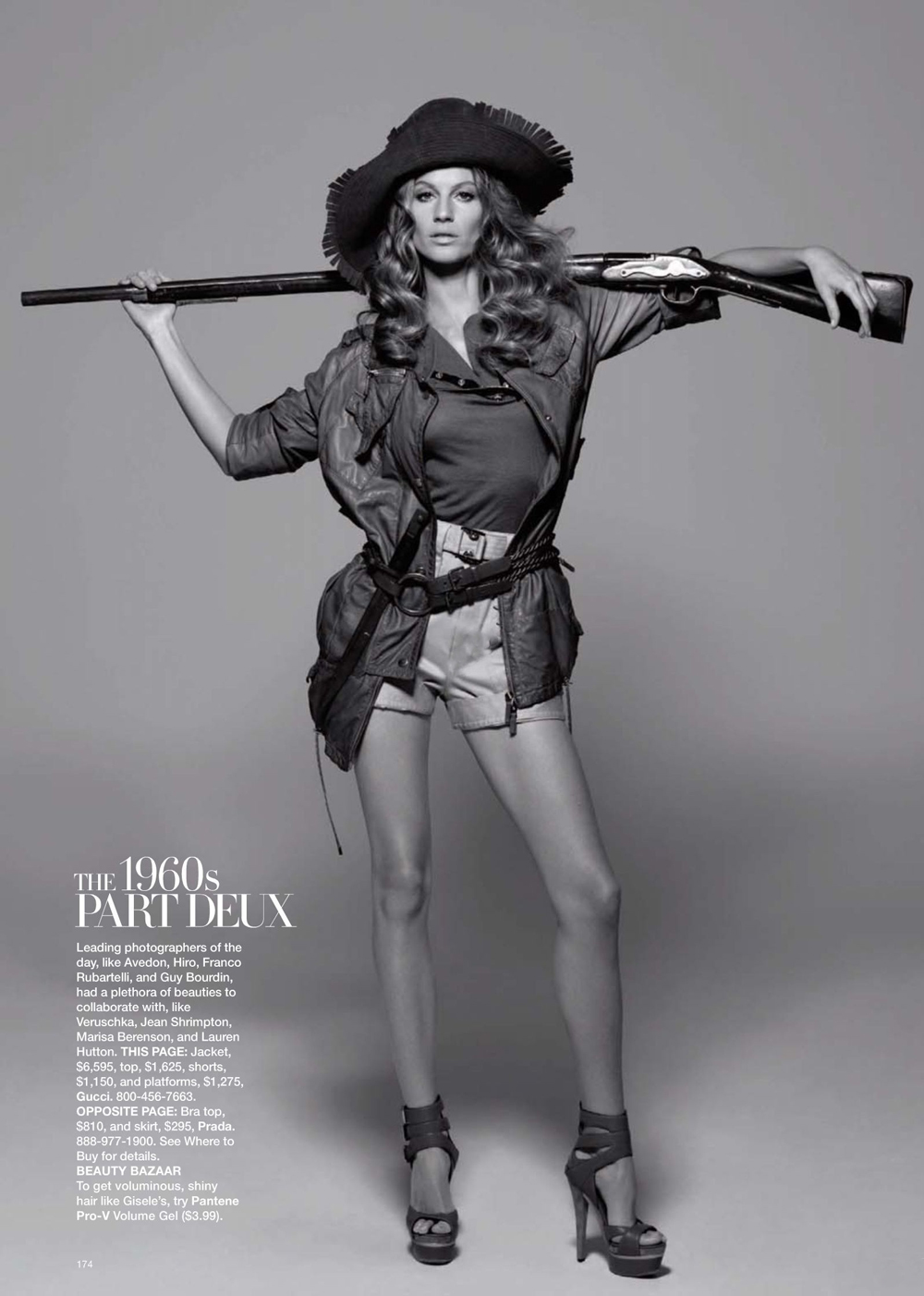 Gisele Bundchen posing as Veruschka from the past photographed by Peter Lindbergh and styled by Katie Mossman for Gisele: supermodel muse / Harper's Bazaar US April 2009 via fashioned by love british fashion blog