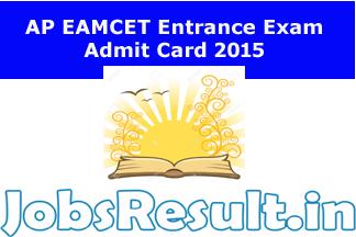 AP EAMCET Entrance Exam Admit Card 2015