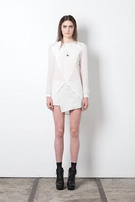 Diagonal shirt, wrap shorts