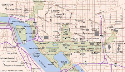 Arlington VA and Washington DC map
