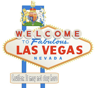 A modified Welcome to Las Vegas sign with Prince Harry's standard