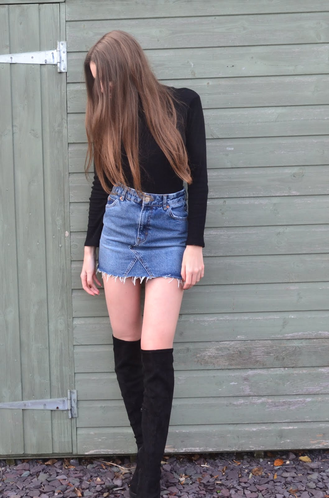 denim skirts and knee highs ella renee