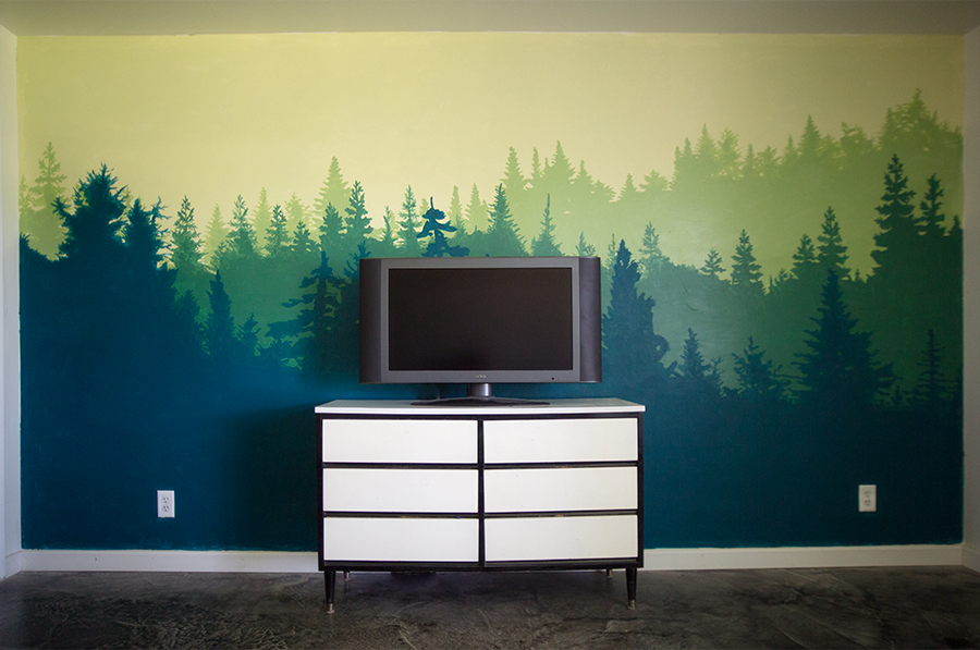 Forest Wall Mural forest wall mural - bedroom makeover | little lady little city