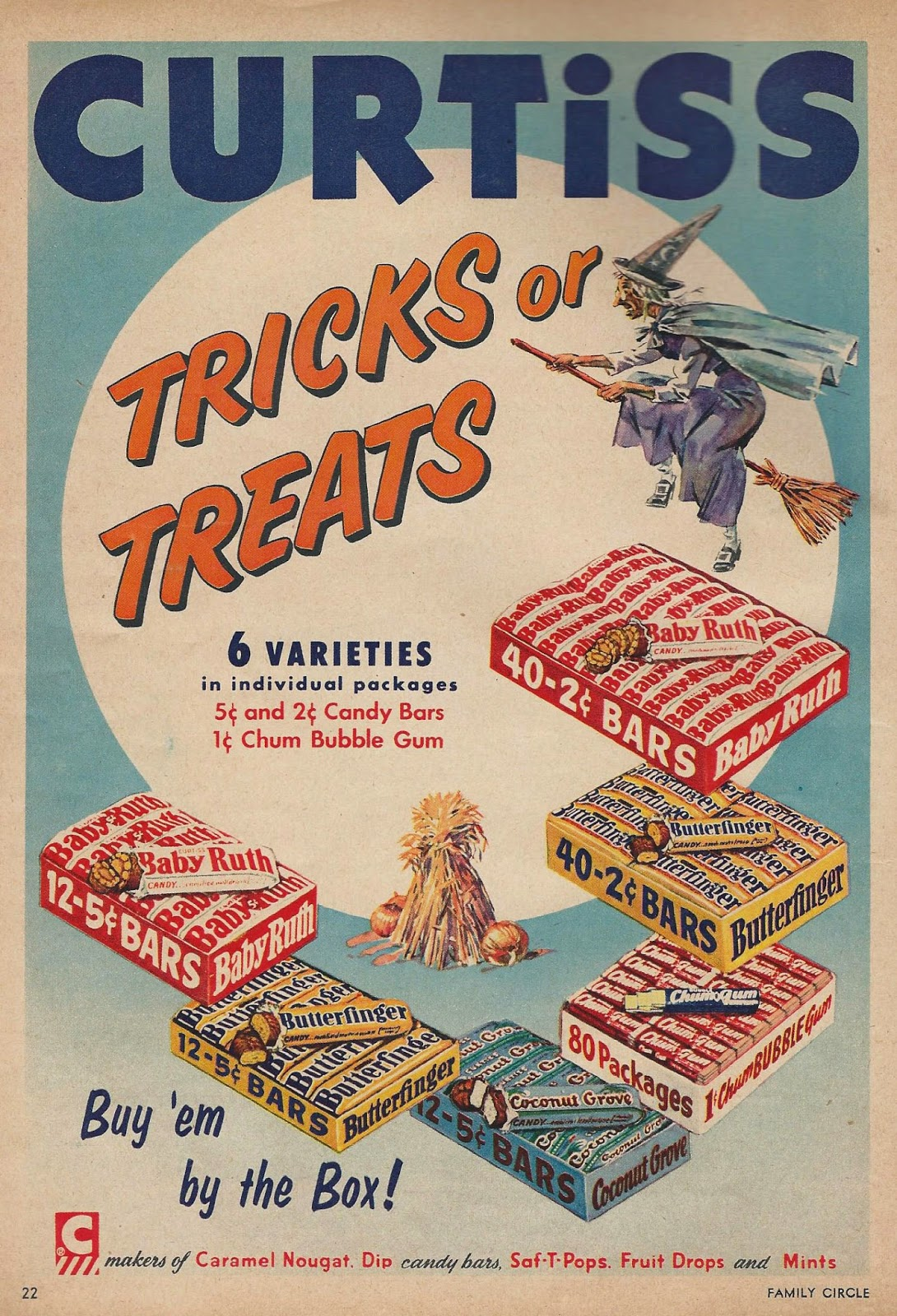Printable vintage halloween candy advertisement curtiss candy