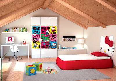 dormitorio con todo de hello kitty