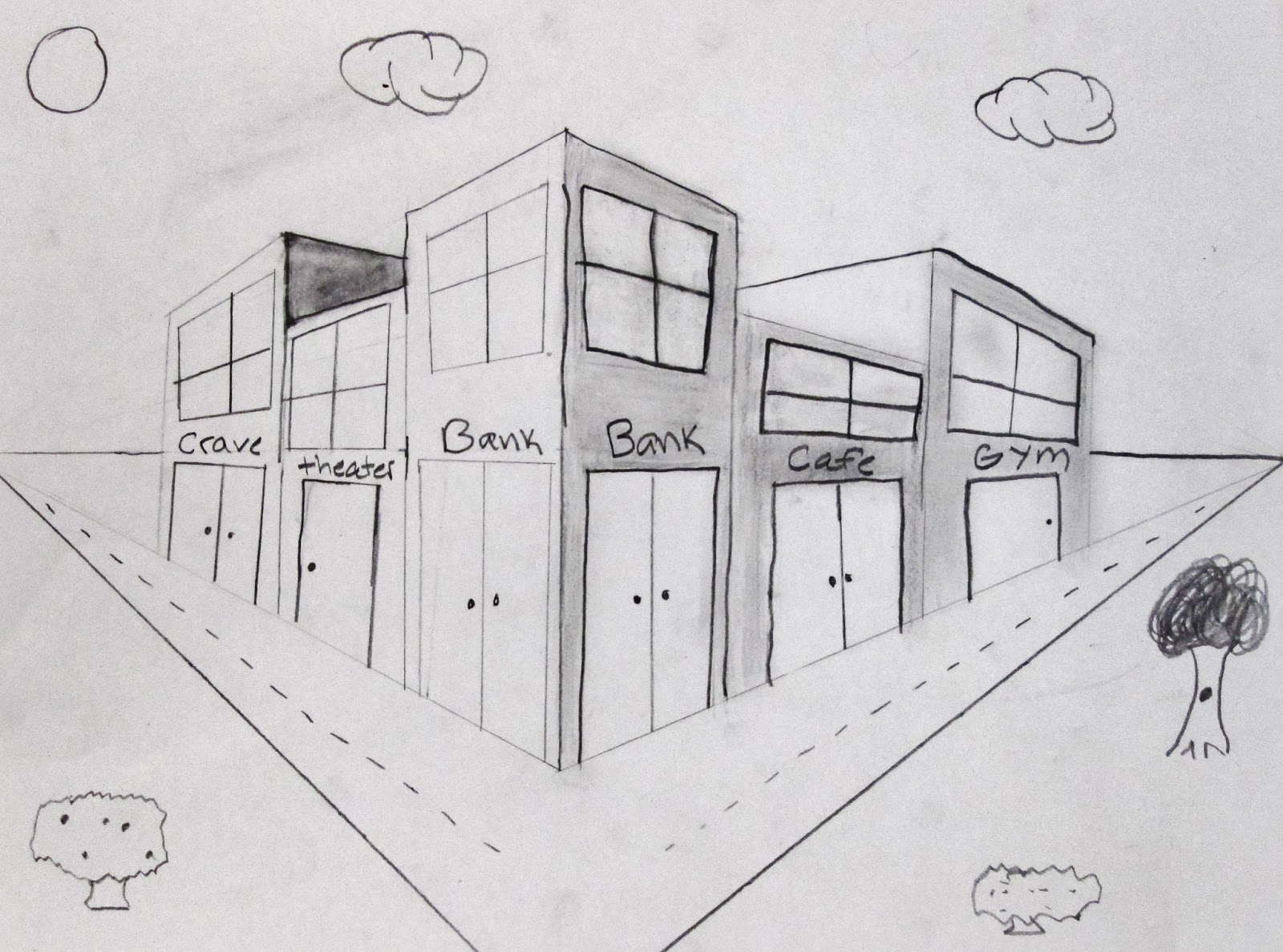 With Two Point Perspective 5th Grade Students Made Their Own Street Corner Complete All The Daily Essentials Like A Bank Wal Mart McDonalds
