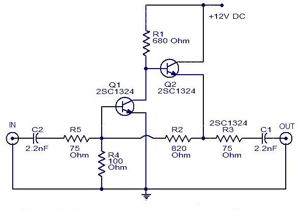 Schematic  U0026 Wiring Diagram  Cable Tv Amplifier Using 2 Transistor
