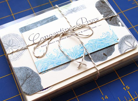 Sand Dollar Thank You note packaging from Concertina Press