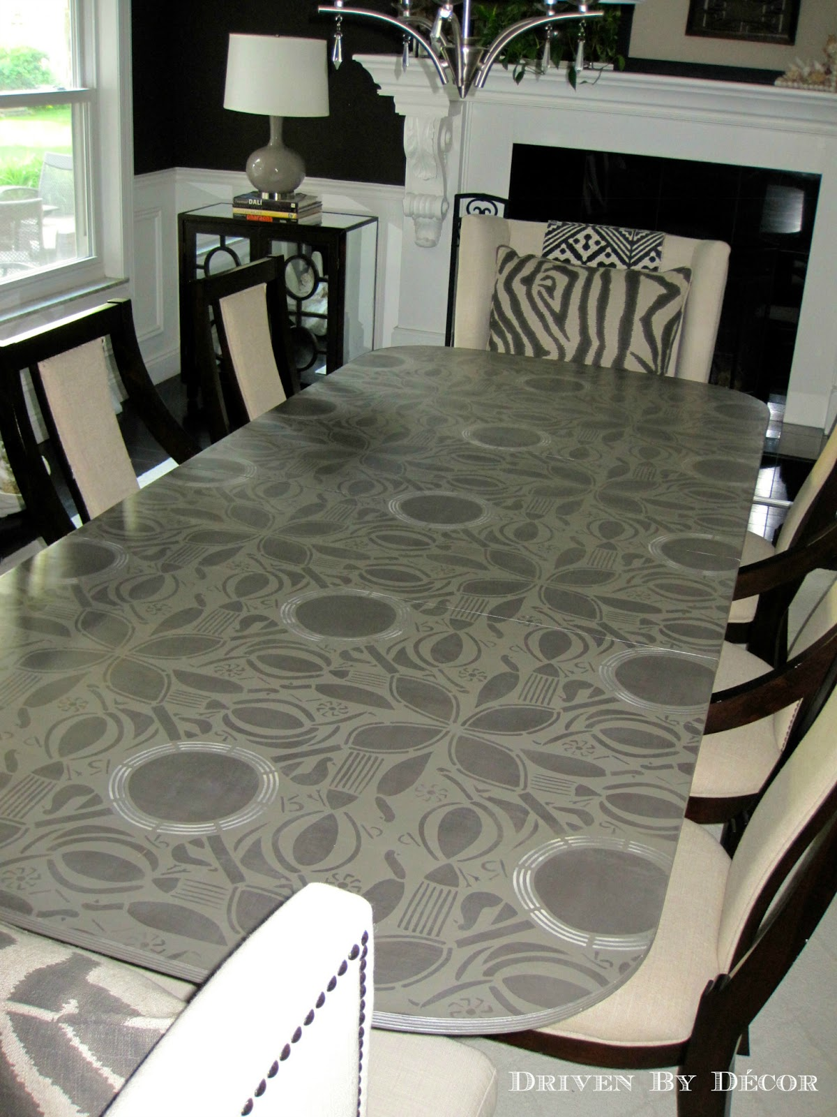 stunning stenciled table driven by decor