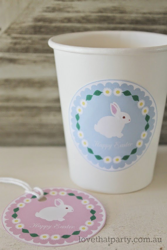 Cute Free Printable Easter Bunny Party labels by Love That Party. www.lovethatparty.com.au